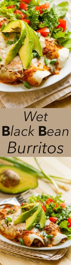 Wet Black Bean Burritos are a great Brown bag lunch, or a Meatless Monday dinner! And super easy to make!