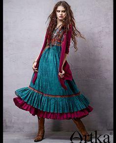 ARTKA VINTAGE BOHEMIAN STYLE TURQUOISE LOTUS LEAF DRESS LA14357C  US$98