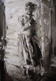 black and white - woman - figurative painting - Paul Wright