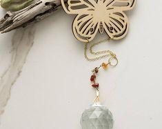 Laser Cut Wood Butterfly Crystal Prism Window Ornament - Glintz