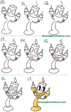 Learn How to Draw Lumiere (Cute Kawaii / Chibi) from Beauty and the Beast Simple Steps Drawing Lesson for Children and Beginners