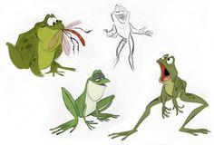 Artes de A Princesa e o Sapo, por Bill Schwab Frog Illustration, Character Illustration, Animal Sketches, Animal Drawings, Character Design References, Character Art, Frog Drawing, Sketch Inspiration, Creature Design