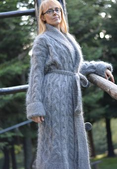 Hand knitted UNISEX Mohair Sweater coat Cardigan in by Dukyana