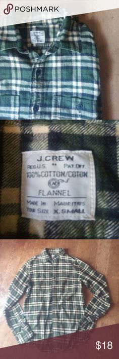 J. Crew Flannel Army green and beige flannel. J. Crew Jackets & Coats Lightweight & Shirt Jackets