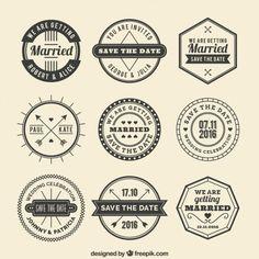Retro wedding badges Free Vector