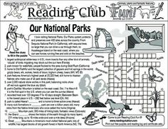 OUR NATIONAL PARKS (On August 25, 2016, the National Park Service turns 100!) - Teach about our National Park system with this activity page!