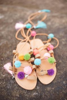 These cute pompom sandals will have your little girl looking so chic! Pom Pom Sandals, Little Girls, Baby Shoes, Lip Balm, Kids, Clothes, Young Children, Outfits, Toddler Girls
