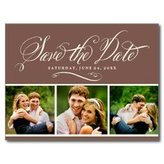 Brown Photo Save the Date   Calligraphy Script Postcard