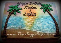 Sheet Cake Decorated in beach theme Wedding Sheet Cakes, Birthday Sheet Cakes, Beach Themed Cakes, Beach Cakes, Luau Cakes, Party Cakes, Hawaiian Cakes, Cake Decorating Techniques, Cake Decorating Tips