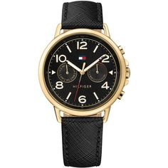 Tommy Hilfiger Women's Casual Sport Black Leather Strap Watch 38mm... (7.240 RUB) ❤ liked on Polyvore featuring jewelry, watches, black, tommy hilfiger jewelry, sports wrist watch, black face watches, stainless steel jewelry and tommy hilfiger