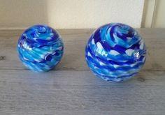 Paperweight Presse papier linten tinten blauw en wit
