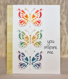 Spellbinders butterfly die, embossed and sponged with Memento inks
