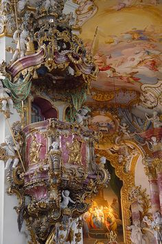 Pulpit of the Pilgrimage Church of Wies, in the foothills of the Alps, Steingaden, Weilheim-Schongau, Bavaria, Germany by earthmagnified