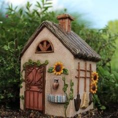 Sunflower Fairy Workshop Cottage with Hinged Door