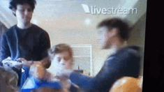 Cake with Michael. Luke's reaction though, for a few seconds he looks genuinely scared! (gif)