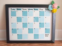 This paint chip dry-erase calendar is a stylish and efficient way to keep track of monthly plans. #crafts #diy