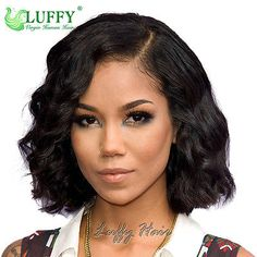 50 Short Black Hairstyles Ideas in Regardless of whether you like to wear your hair wavy and brimming with common surface or smooth and straight, a short hair style can settle on a bril. Short Human Hair Wigs, Short Bob Wigs, Short Wavy, Short Bobs, Curly Wigs, Curly Bob, Wig Bob, Human Wigs, Bob Lace Front Wigs