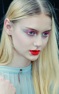 neon pink lashes + red lip at dior couture