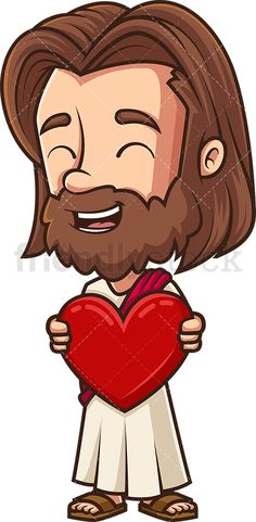 Kawaii Jesus Holding Heart: Royalty-free stock vector illustration of Jesus Christ holding a red heart in His warm hug and giggling. Free Vector Clipart, Bible Study Journal, Faith Bible, Warm Hug, Kawaii Chibi, Vector Illustrations, Jesus Christ, Religion, Royalty