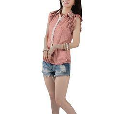 Allegra K Ladies Tiered Ruffled Short Sleeve Semi Sheer Dots Prints Chiffon Top Pink XS Allegra K. $10.79