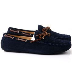 Men Scrub Leather Driving Shoes In Navy - Shipping Cap Promotion- - TopBuy.com.au