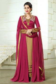 Magenta and Beige Colour Georgette Fabric Designer Semi Stitched Anarkali Salwar Kameez Comes With Matching Dupatta and Bottom Fabric. This Suit Is Crafted With Embroidery,Resham Work. This Suit Comes...