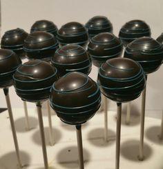 Black and teal cake pops.