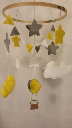 Baby mobile Balloin,star and clouds. Wall Banner, Nursery, Clouds, Star, Baby, Handmade, Day Care, Hand Made, Baby Rooms