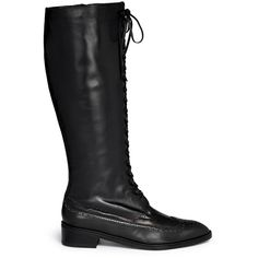 Robert Clergerie 'Xamar' lace-up leather wingtip brogue boots (3165 TND) ❤ liked on Polyvore featuring shoes, boots, black, lace up boots, military boots, leather military boots, lace up knee boots и black lace up boots