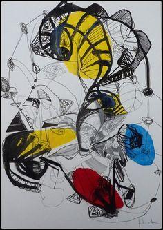 29.7 x 42 cm  acrylique, encre de chine et crayon sur papier