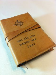 leather journal hand-printed custom for you not all who by inblue