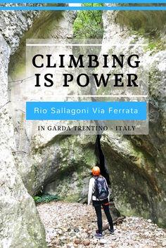 In Garda Trentino - Italy you can climb one of the most beautiful Via Ferrata routes, the Rio Sallagoni, all the way up to a medieval castle called Castello Di Drena.