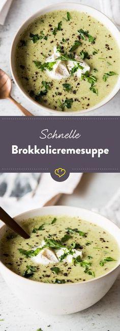 Fast and healthy: Vegetarian broccoli cream Schnell und gesund: Vegetarische Brokkolicremesuppe Prepared quickly and healthy: This broccoli cream soup is not only wonderfully creamy, but is also quickly on your table. Cream Of Broccoli Soup, Cream Soup, Soup Recipes, Vegetarian Recipes, Healthy Recipes, Free Recipes, Vegetarian Lifestyle, Snacks Recipes, Dinner Recipes