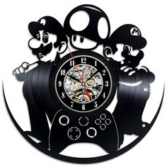 Mario Luigi Game Vinyl Record Wall Clock