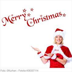 Wandtattoo Weihnachten - Merry Christmas mit Sternen