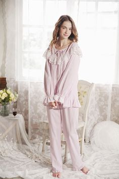 Cotton Pajamas Long sleeved Women Vintage Sleeping Clothes | ClothesShow Pajamas For Teens, Cute Pajamas, Pajamas Women, Comfy Pajamas, Pjs, Satin Pyjama Set, Pajama Set, Womens Fashion Online, Latest Fashion For Women
