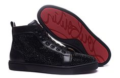 Christian Louboutin Louis Strass Mens Flat Leather High Top Shoes Sneakers Black