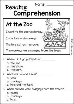 Reading Comprehension Set 2 is great for Kindergarten or first graders. It helps teach children in reading and comprehension. You can use as a class time worksheet or homework. Worksheets Preschool, 1st Grade Reading Worksheets, First Grade Reading Comprehension, English Worksheets For Kids, Reading Comprehension Worksheets, Teacher Worksheets, Reading Fluency, Reading Passages, Teaching Reading
