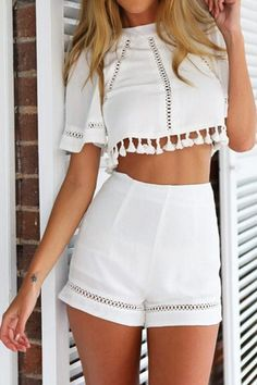 Openwrok Tassel Short Sleeve Crop Top + Shorts WHITE: Shorts | ZAFUL