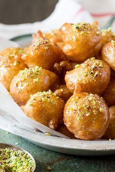 loukoumades greek doughnuts side