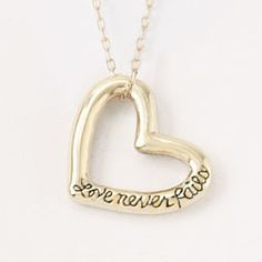 14Kt Gold Heart Necklace - Love Never Fails on SonGear.com - Christian Shirts, Jewelry