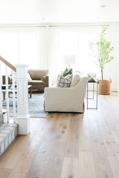 Parade Home Reveal - Pt. 1 — STUDIO MCGEE wood floors - wood floors wide plank - light wood floors Hardwood Floor Colors, Light Hardwood Floors, Modern Wood Floors, Kitchen Hardwood Floors, Plywood Floors, Plywood Furniture, Staining Wood Floors, Furniture Design, Kid Furniture
