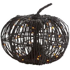 Pre-Lit Grapevine Pumpkin - Pier1 US  This will be great for my Edgar Allen Poe inspired haunted house for this years Halloween.  The dark wood, Burton-esque feel and orange lights makes this have a nice spooky feel.