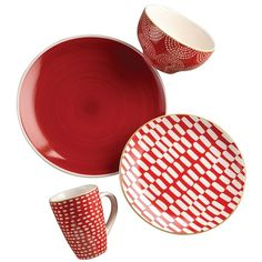 Simpatico Red 16-pc. Dinnerware Set ($90) ❤ liked on Polyvore featuring home, kitchen & dining, dinnerware, red dinnerware, round dinner plates, red salad plates, patterned dinnerware and round bowl