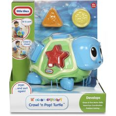 Little Tikes Lil' Ocean Explorers Crawl 'n Pop Turtle 6 Months for sale online Little Tikes, Baby Learning, Creature Design, Fine Motor Skills, First Birthdays, Kids Toys, Turtle, Shapes, Pop