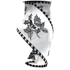 """4"""" Black White Holly Check Ribbon (5 Yards) for just $18.95. A five yard roll of 4"""" wide white taffeta ribbon with embroider black and white holly design. Black and white check wired edge. Great for indoor and outdoor projects. Specialty ribbon; Use for any creative or decorative venture you can think of; High quality design; Multi-functional & multi-useful. D. Stevens Fine Ribbon ds87-0216 Wreath Supplies, Christmas Ribbon, Yard Sale, Outdoor Projects, Sale Items, Real Leather, Yards, Black And White, Check"""