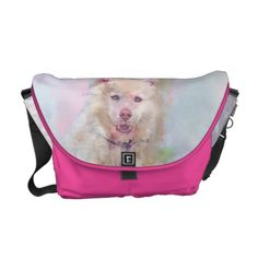 Watercolor Husky Dog Messenger Bag - personalize cyo diy design unique