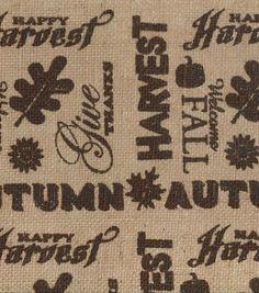 Autumn Inspirations Fabric-Autumn Burlap Words, , hi-res