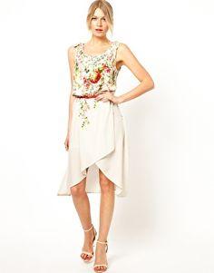 Bild 1 von Oasis – Geblümtes Kleid mit Gürtel und nach hinten abfallendem Saum