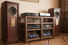 Extremely nice real world set up, notice the stands matching the Tannoy Kensington's Mahogany's wood finish. KT 88 go very well on the Tannoy's. high end audio audiophile Hi Fi System, Audio System, Hifi Audio, Stereo Speakers, Audio Vintage, Audio Stand, Sound Room, Audio Rack, Stereo Cabinet